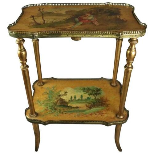 Antique French Hand-Painted Vernis Martin Giltwood & Bronze 2-Tier Stand, c1900
