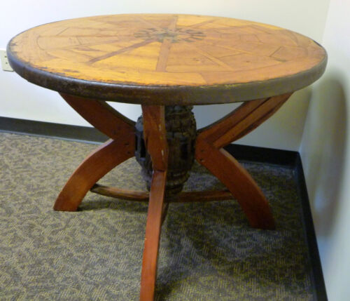 Antique Wagon Wheel Table with Wheel Hub Pendant
