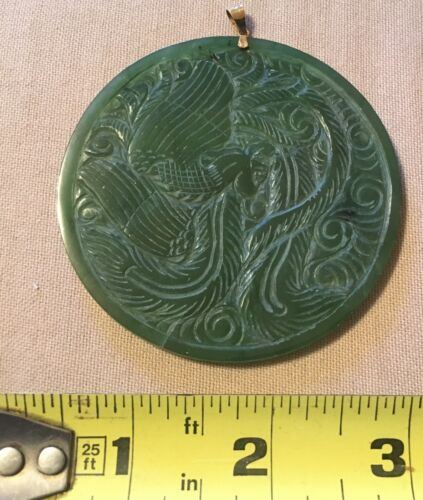 14K Gold And Green Jade Dragon Pendant Hand Carved