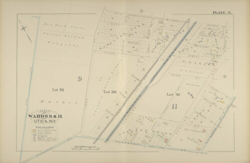 1883 G.M. HOPKINS UTICA NEW YORK CHENANGO CANAL OAK ST TO PLEASANT ST ATLAS MAP