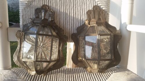 Vintage Metal Tin Punched Wall Sconces (Pair)