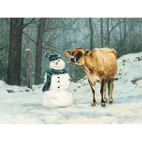 Bonnie Mohr Well Hello There Cow and Snowman Art Print- 16 x 12