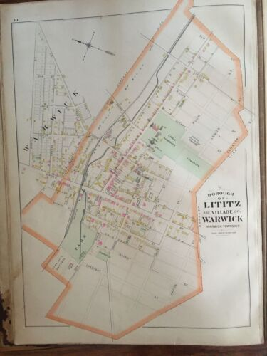 1899 LANCASTER COUNTY LITITZ PA ROAD MARKET ST TO CEMETERY ST PLAT ATLAS MAP