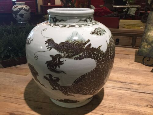 VINTAGE LARGE BROWN AND WHITE CHINESE PORCELAIN DRAGON JAR