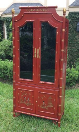 Vtg Faux Bamboo China Cabinet Hutch  Chinoiserie Chinese Chippendale Pagodas