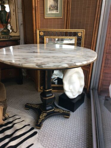 Vtg French Empire Distressed Black Gold Round Marble Top Center Or Dining Table