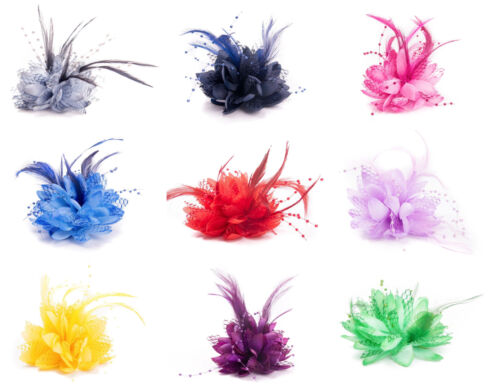 Flower Feather Fascinator Bead Beak Hair Clip Brooch Ladies Day Ascot Races 13