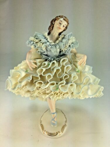 "Muller Volkstedt Dresden Lace ""Can Can Dancer"" Figurine Porcelain Ireland"