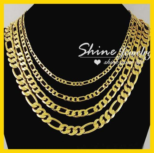 9K YELLOW GOLD GF FIGARO RING CURB CHAIN LADY MEN SOLID CUBAN 16-30INCH NECKLACE