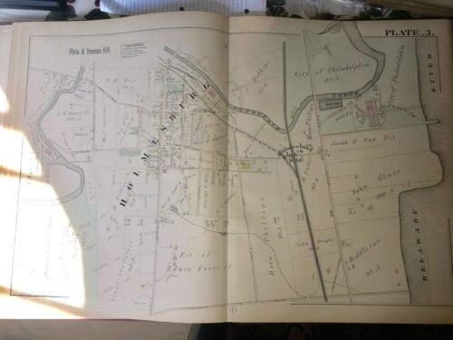 1885 HOLMSBURG PHILADELPHIA PA HOUSE OF CORRECTIONS PLAT 3 ATLAS MAP