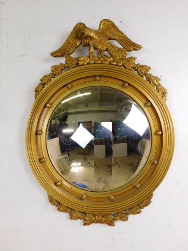 "32""T ANTIQUE FEDERAL ROUND CONVEX BULLSEYE GILTWOOD MIRROR ORNATE IMPERIAL EAGLE"