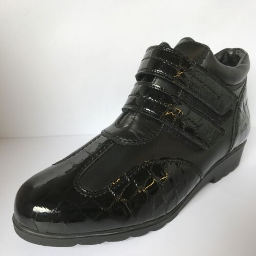 Equity Karen Ankle Boot Croc Effect Patent Detail Leather E/EE Fitting