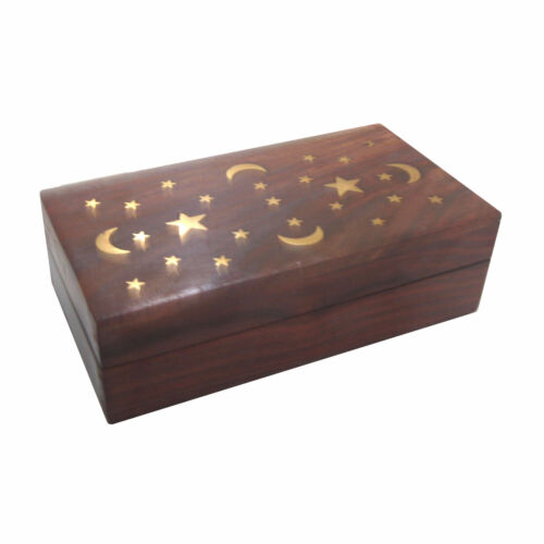 New Hand Carved Wood & Brass Stars Keepsake Stash Trinket Box Wooden Pattern M