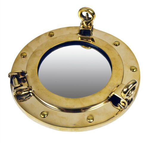 """8"""" Solid Brass Porthole Mirror Nautical Round Wall Mount Gold Ship Framed"""