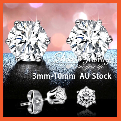 9K WHITE GOLD GF SILVER MEN LADY CRYSTAL CT LAB DIAMOND CLAW ROUND STUD EARRINGS