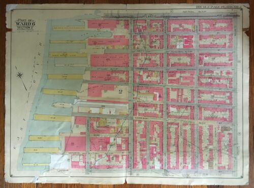 ORIG 1904 E. BELCHER HYDE RED HOOK BROOKLYN NY, ST. PETER'S HOSPITAL, ATLAS MAP
