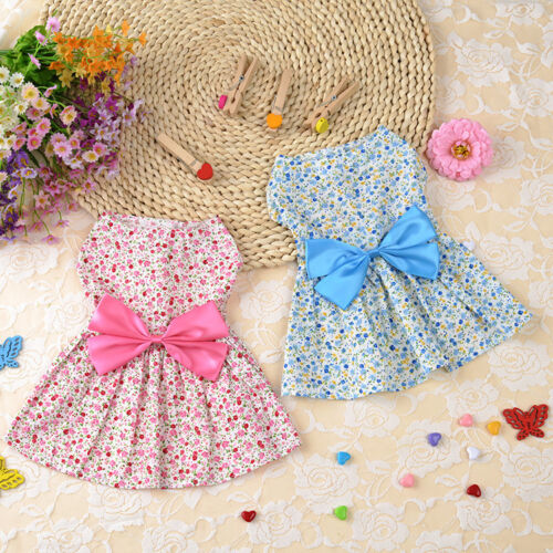 Floral Pet Dog Dress Small Cat Puppy Apparel Summer Bowknot Doggie Costume Skirt