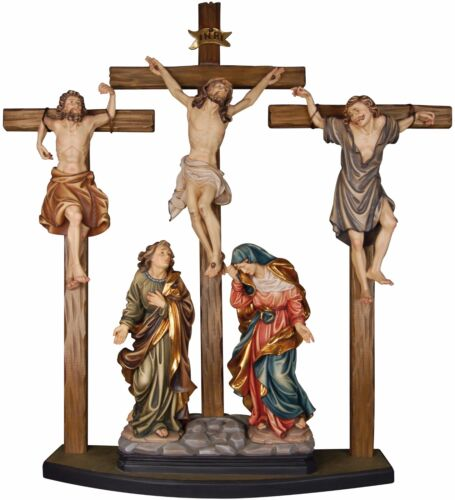 CROCIFISSIONE - CRUCIFiXION GROUP In Legno Scolpito..WOODCARVING