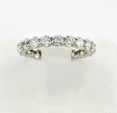 925 Sterling Silver 14k White Gold Round cut ETERNITY Ring Wedding Bridal Band