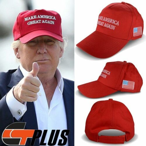 MAKE AMERICA GREAT AGAIN US FLAG HAT DONALD TRUMP REPUBLICAN EMBROIDERED CAP RED