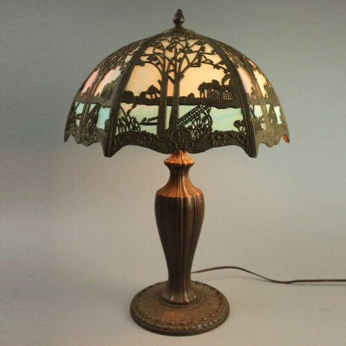Antique Arts and Crafts Scenic Framed Slag Glass Table Lamp