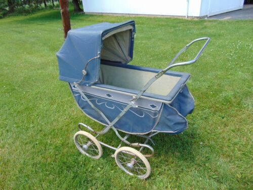 Vintage Antique Thayer Bouncing Baby Carriage Stroller Blue