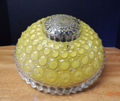 Vtg Art Deco Yellow Ceiling Hanging Glass Bubble Berwick Shade w 3 hanging wires