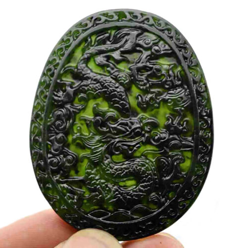 Chinese natural black green jade Hand carved old jade pendant dragon necklace