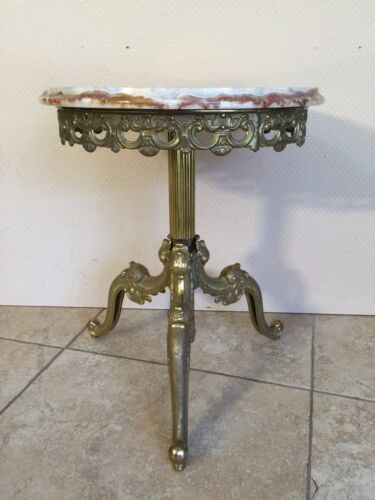 """Vintage Victorian Marble Top Brass Plant Stand, 15"""" D x 18"""" T, 21.7 Lbs Weight"""