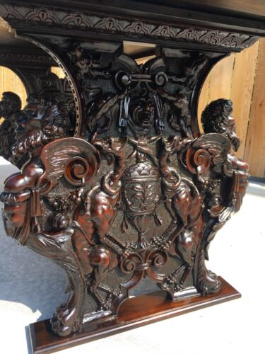 19th C. Italian Carved Figural Griffin,Satyr Renaissance Library Table/Desk