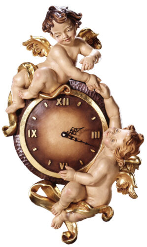 OROLOGIO CON ANGELI - WALL CLOCK Wood carved WITH ANGELS