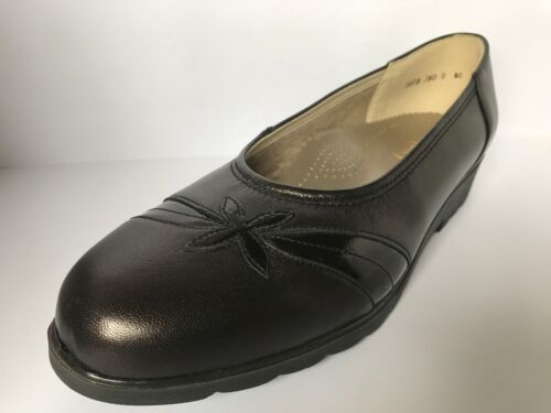 Ladies Equity Blenheim Dark Brown Leather Court Shoe EE Fitting Leather
