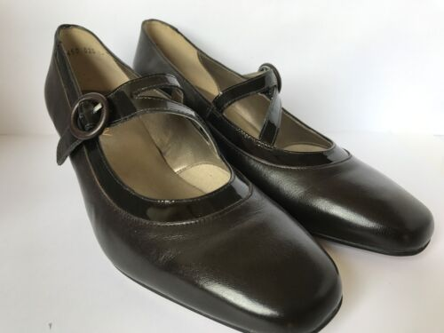 Equity Flame Brown Leather Strap Court Shoe E Fitting EX DISPLAY