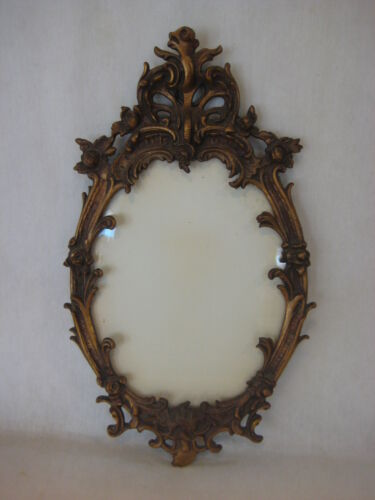 Vintage Rococo Gilt Gold Plated On Brass Wall Oval Photo Frame With Unique Shape