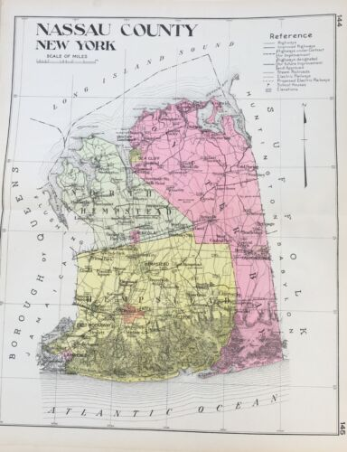 ORIGINAL 1912 NASSAU COUNTY NEW CENTURY ATLAS MAP COUNTIES OF THE STATE OF NY
