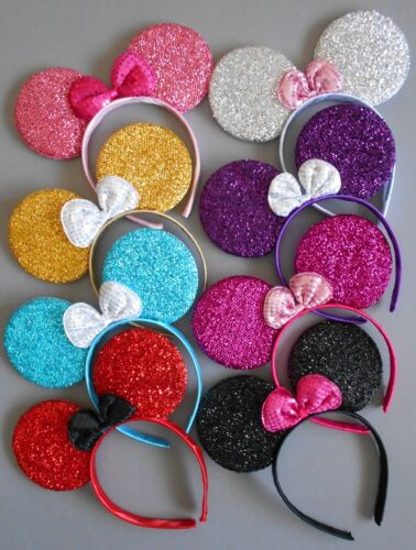 8 x Minnie mouse ears hairband fancy dress party hen night 8 glitter colours