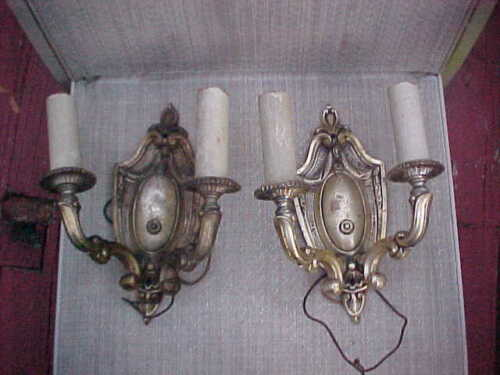 PAIR ANTIQUE BRASS DOUBLE BULB ELECTRICAL WALL SCONCE