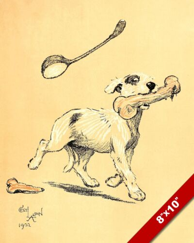 BONE FOR LUNCH PET PUPPY DOG ANIMAL ART CECIL ALDIN PAINTING PRINT REAL CANVAS