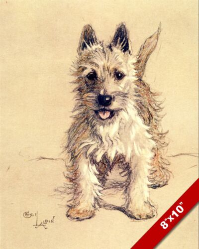 WESTIE PET PUPPY DOG ANIMAL ART CECIL ALDIN PAINTING PRINT ON REAL CANVAS