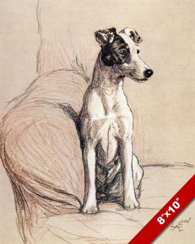TERRIER ON CHAIR PET PUPPY DOG ANIMAL ART CECIL ALDIN PAINTING PRINT REAL CANVAS