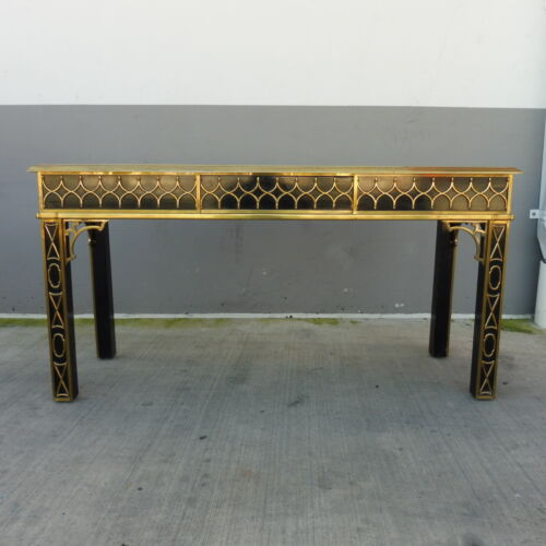 RARE MASTERCRAFT BLACK LACQUER AND BRASS CHINESE CHIPPENDALE CONSOLE TABLE