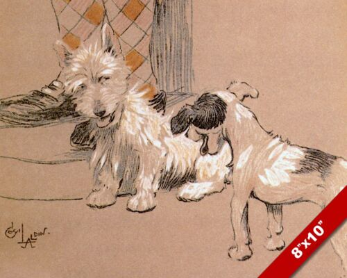 TERRIER FRIENDS PET PUPPY DOG ART CECIL ALDIN PAINTING PRINT ON REAL CANVAS