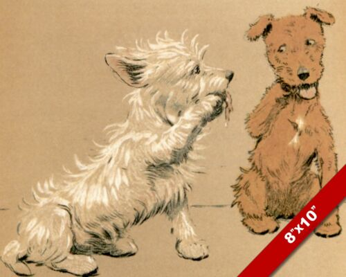 WHISPERING PET PUPPY DOG ANIMAL ART CECIL ALDIN PAINTING PRINT ON REAL CANVAS