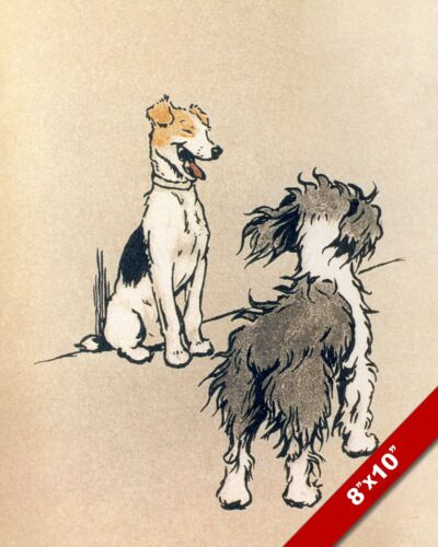 LAUGHING PET PUPPY DOG ANIMAL ART CECIL ALDIN PAINTING PRINT ON REAL CANVAS