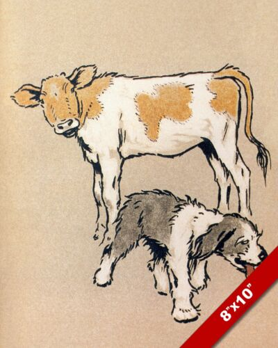 SHEEPDOG & COW PUPPY FARM DOG ART CECIL ALDIN PAINTING PRINT ON REAL CANVAS