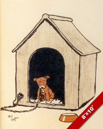 PET PUPPY ON TIMEOUT IN DOG HOUSE ART CECIL ALDIN PAINTING PRINT ON REAL CANVAS