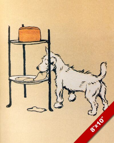 STEALING A TREAT PET PUPPY DOG ART CECIL ALDIN PAINTING PRINT ON REAL CANVAS