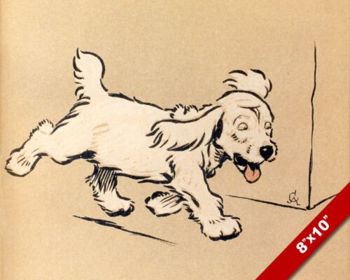 HAPPY WHITE PET PUPPY DOG ANIMAL ART CECIL ALDIN PAINTING PRINT ON REAL CANVAS