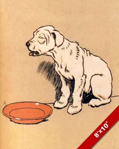 EMPTY BOWL & HUNGRY PET PUPPY DOG ART CECIL ALDIN PAINTING PRINT ON REAL CANVAS