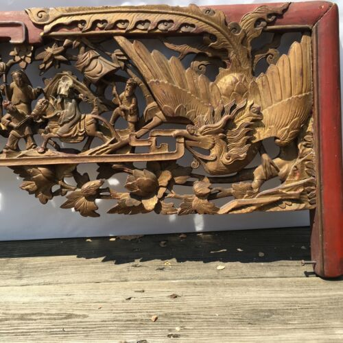 "19th C. Chinese Carved Gilt wood Figural Phoenix Lacquered Panel/Headboard 76"" L"